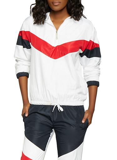 Color Block Hooded Windbreaker Jacket,BLACK,large