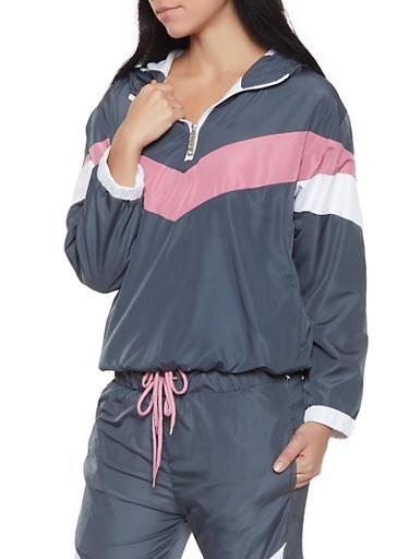 Color Block Windbreaker Jacket | 1413063400022,CHARCOAL,large