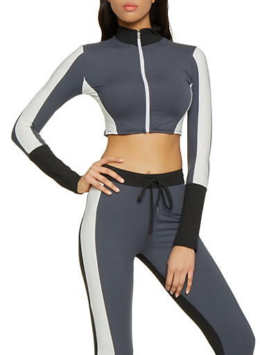 Color Block Soft Knit Cropped Activewear Top,BLACK,large