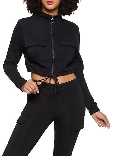 Cropped Fleece Lined Cargo Sweatshirt,BLACK,large