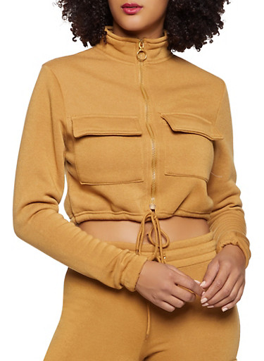 Cropped Fleece Lined Cargo Sweatshirt,TAN,large
