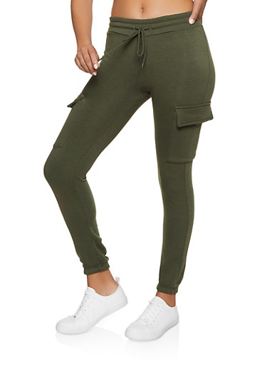 Cargo Fleece Lined Joggers,OLIVE,large