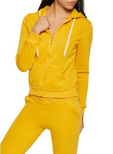 Fleece Lined Hooded Sweatshirt,MUSTARD,large