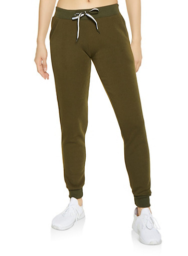 Fleece Lined Joggers,OLIVE,large