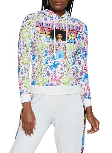 Melanin Beauty Vibes Graphic Sweatshirt,WHITE,large