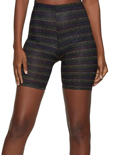 Lurex Striped Bike Shorts,MULTI COLOR,large