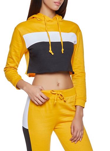 Color Block Cropped Sweatshirt,MUSTARD,large