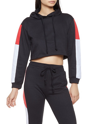 Cropped Color Block Sweatshirt,BLACK,large