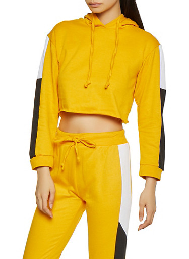 Cropped Color Block Sweatshirt,MUSTARD,large