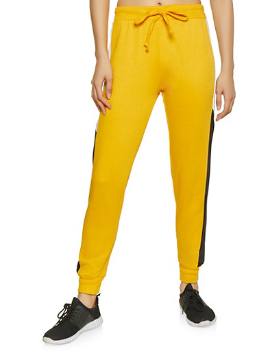 Color Block Joggers,MUSTARD,large