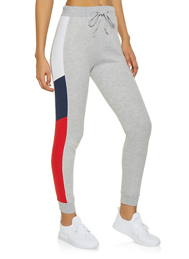 Color Block Joggers,NAVY,large
