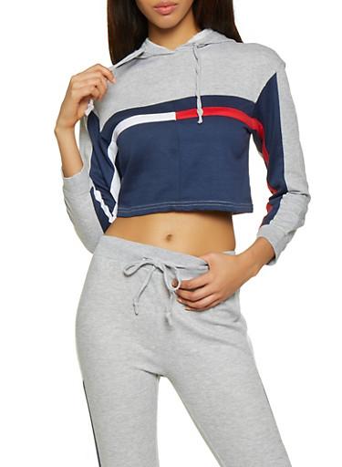 Color Block Cropped Hooded Sweatshirt,NAVY,large