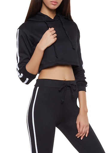 Varsity Stripe Cropped Sweatshirt,BLACK,large