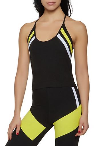 Double Stripe Soft Knit Active Top,BLACK,large