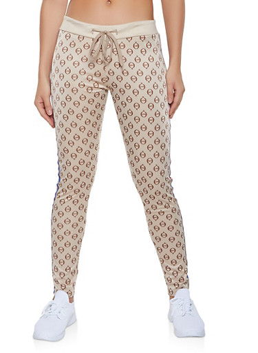 Love Graphic Side Tape Track Pants,BROWN,large