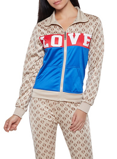 Love Graphic Color Block Track Jacket,BROWN,large