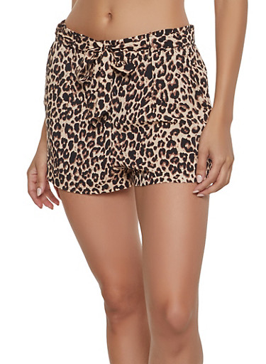 Leopard Tie Front Shorts,BROWN,large