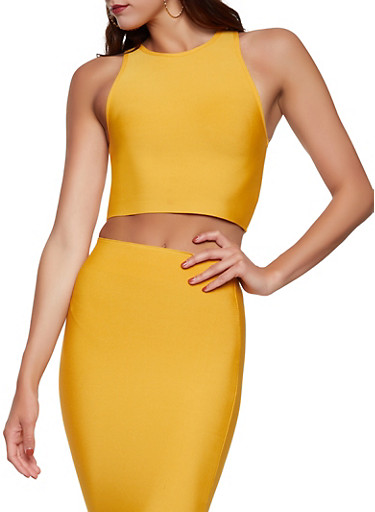 Solid Bandage Crop Top,MUSTARD,large