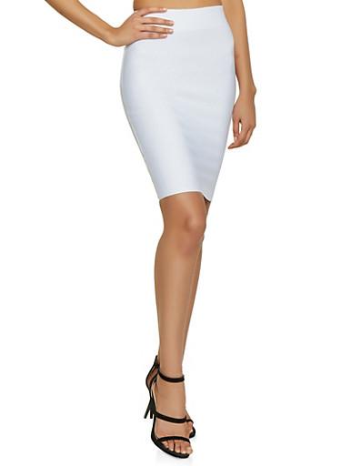 Basic Bandage Pencil Skirt,WHITE,large