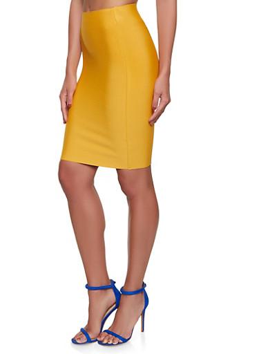Basic Bandage Pencil Skirt,MUSTARD,large