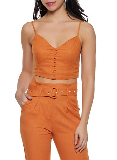 Smocked Back Cami Crop Top,RUST,large