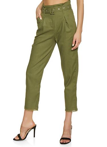 Belted Frayed Hem Trousers,OLIVE,large