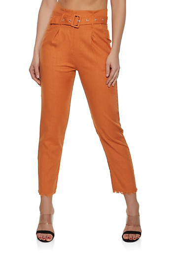 Belted Frayed Hem Trousers,RUST,large