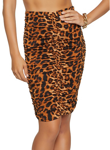 Ruched Front Leopard Skirt,BROWN,large