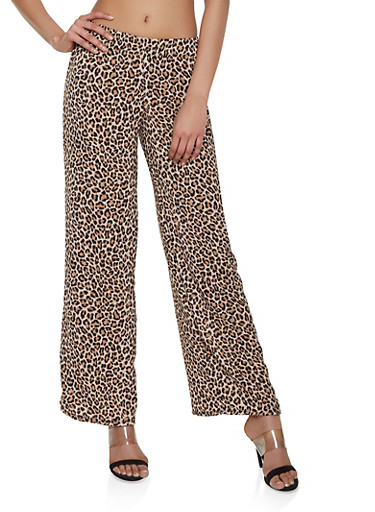 Leopard Print Palazzo Pants,BROWN,large