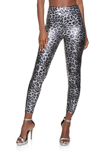 Cheetah Print Spandex Leggings,GRAY,large