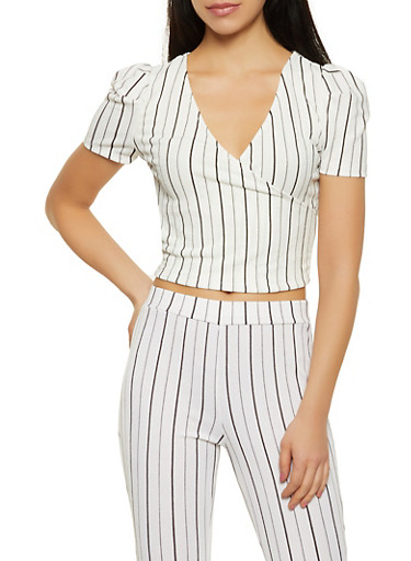 Striped Crepe Knit Faux Wrap Top,WHT-BLK,large
