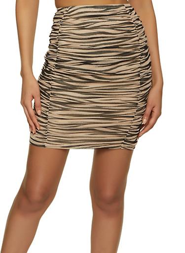 Zebra Print Ruched Mesh Skirt,MOCHA,large
