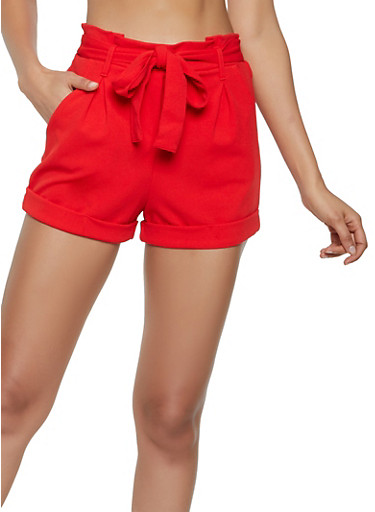 Crepe Knit Belted Shorts,RED,large