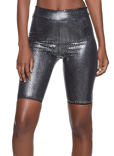 Foiled Checkered Bike Shorts,SILVER,large