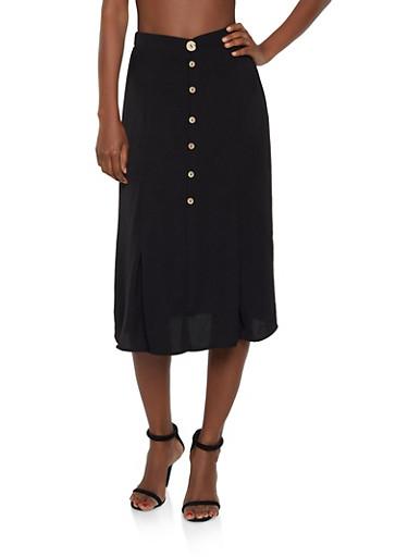 Button Front Midi Skirt,BLACK,large