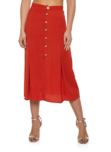 Button Front Midi Skirt,RUST,large