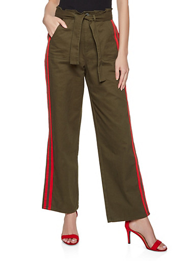 Tape Trim Twill Trousers,OLIVE,large