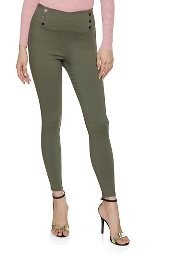 Pull On Skinny Sailor Pants,OLIVE,large