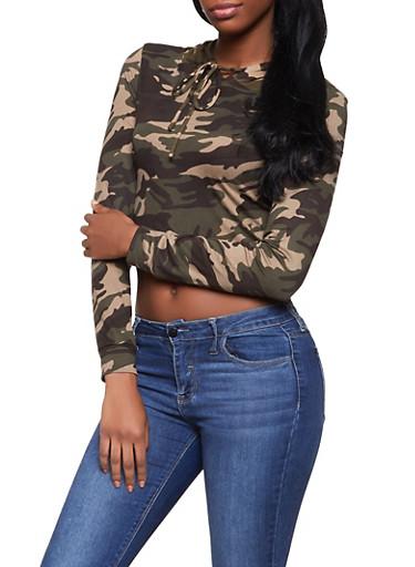 Hooded Camo Crop Top,OLIVE,large