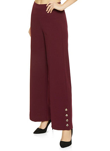 Button Detail Palazzo Pants,WINE,large