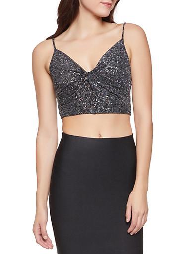 Glitter Knit Twist Front Crop Top,BLACK,large