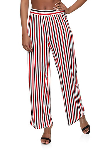 Two Tone Striped Palazzo Pants,RED,large