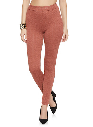 Cable Knit Leggings,RUST,large