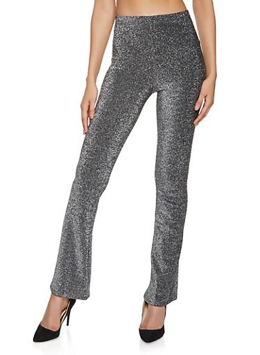 Glitter Knit Flared Pants,BLACK,large