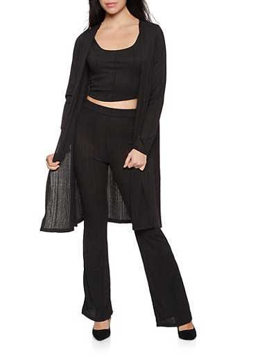 Cropped Tank with Flared Pants and Duster Set,BLACK,large