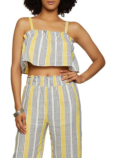 Striped Ruffle Linen Crop Top,MUSTARD,large