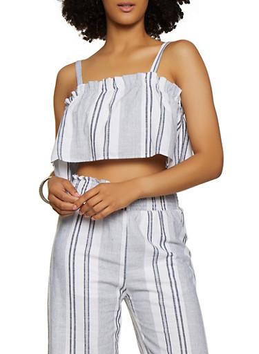 Striped Ruffle Linen Crop Top,BLUE,large