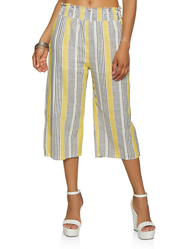 Striped Linen Gaucho Pants,MUSTARD,large