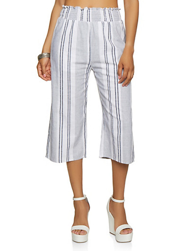 Striped Linen Gaucho Pants,BLUE,large
