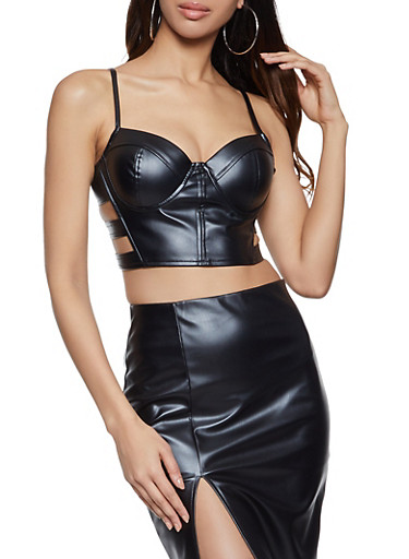 Faux Leather Caged Bustier,BLACK,large
